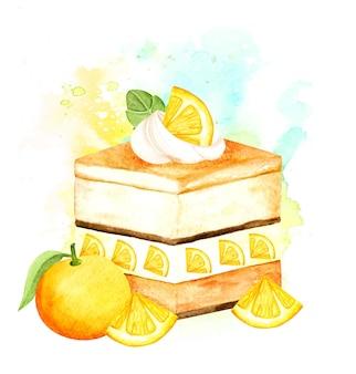 Акварель апельсиновый фруктовый торт Premium векторы