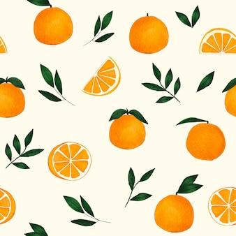 シームレスなパターンの葉を持つ水彩オレンジ色の果物