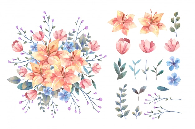 Watercolor orange lily flower bouquet and isolated