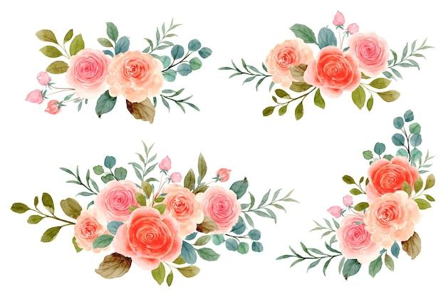 수채화 오렌지 핑크 장미 꽃다발 컬렉션