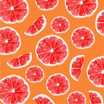 Watercolor orange and red grapefruit seamless pattern