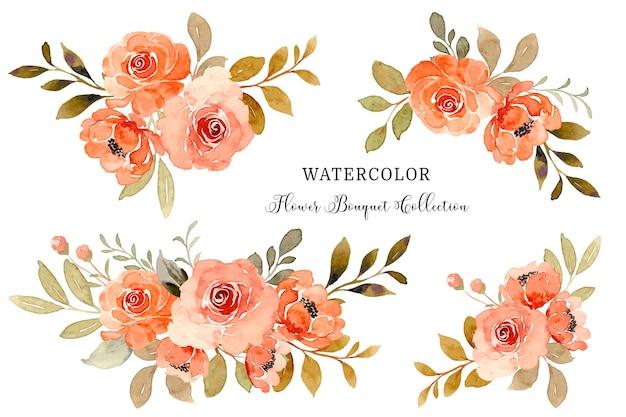 수채화 오렌지 장미 꽃 꽃다발 컬렉션