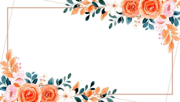 Watercolor orange rose flower frame background
