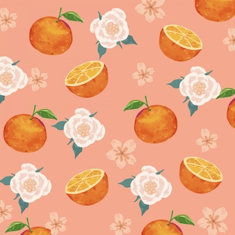 Watercolor oranges and flowers seamless pattern