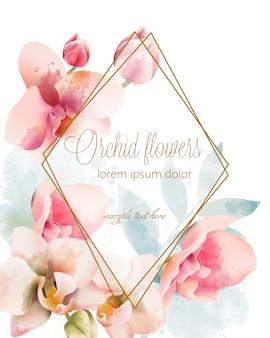 ゴールデンフレームと水彩の蘭の花束。水彩春の花。テキストのための場所
