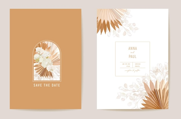 Watercolor orchid, pampas grass, lunaria floral wedding card. vector exotic flower, tropical palm leaves invitation. boho template frame. botanical save the date foliage cover, modern design poster