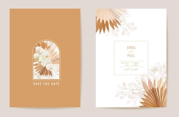 Акварельная орхидея, пампасная трава, цветочная свадебная открытка лунарии. вектор экзотический цветок, тропические пальмовые листья приглашение. рамка шаблона бохо. обложка листвы botanical save the date, современный дизайн плаката