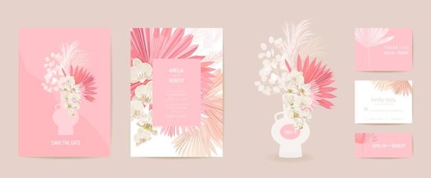 水彩蘭、パンパスグラス、ルナリアフローラルウェディングカード。ベクトルエキゾチックな花、熱帯のヤシの葉の招待状。自由奔放に生きるテンプレートフレーム。ボタニカルセーブザデイトの葉のカバー、モダンなデザインのポスター