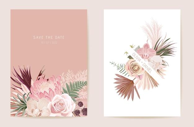 水彩蘭、パンパスグラス、プロテアフローラルウェディングカード。ベクトルエキゾチックな花、熱帯のヤシの葉の招待状。自由奔放に生きるテンプレートフレーム。ボタニカルセーブザデイトの葉のカバー、モダンなデザインのポスター