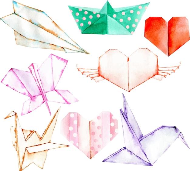 水彩の折り紙の要素セット、手は白い背景に隔離された