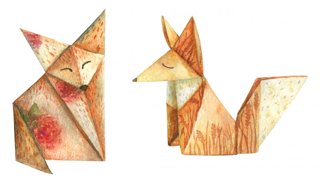 Watercolor origami from paper cute foxes decorated