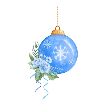 Акварельный декоративный елочный шар с цветочным букетом