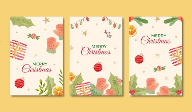 Коллекция акварельных декоративных рождественских открыток