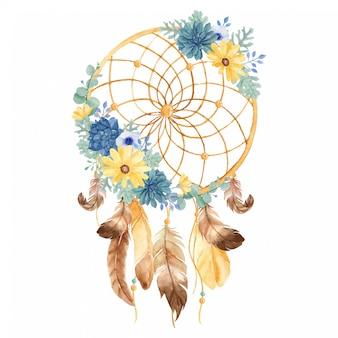 美しいデイジー、多肉植物、アネモネ、ほこりっぽいミラー、ユーカリ、羽の水彩の観賞用ドリームキャッチャー