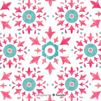 Watercolor ornamental flower pattern background