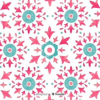 수채화 관 상용 꽃 패턴 배경