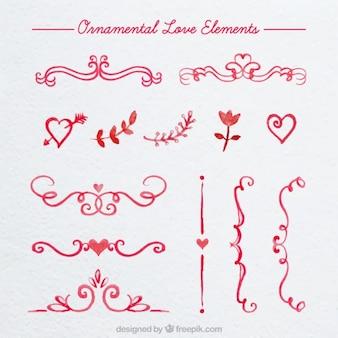 Watercolor ornamental love borders