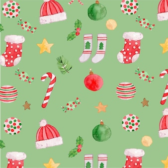 Watercolor ornaments seamless pattern