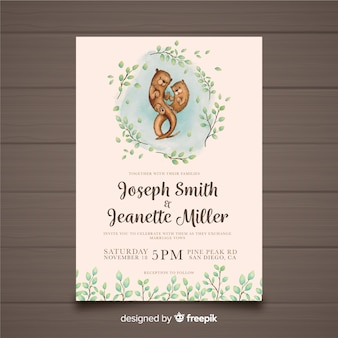 Watercolor otter wedding invitation template