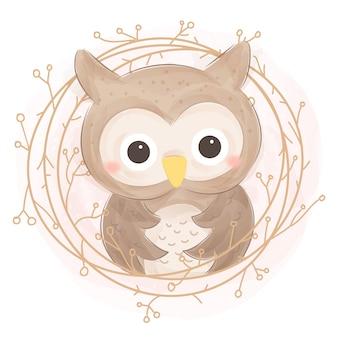 Акварель сова иллюстрация