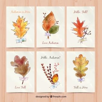 Acquerello pacchetto di carte con foglie autunnali