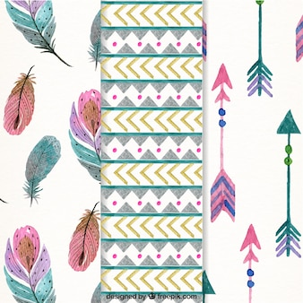 Watercolor pack of patterns with ethnic elements