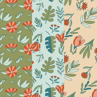 Watercolor pack of spring patterns