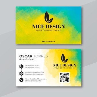 Watercolor paint dipped business card template