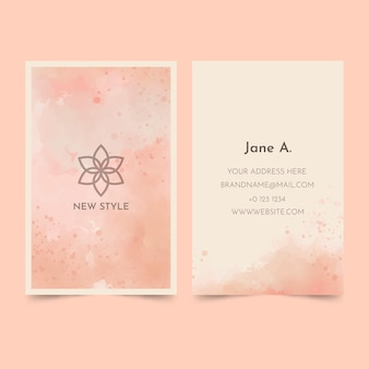 Watercolor paint-dipped business card template
