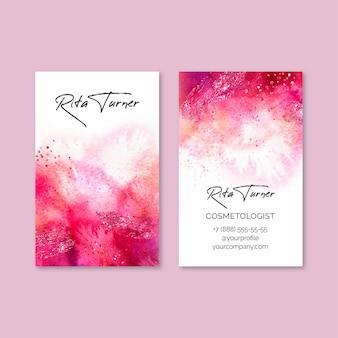 Шаблон визитной карточки с акварельной краской