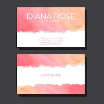 Розовая визитка, пропитанная акварельными красками