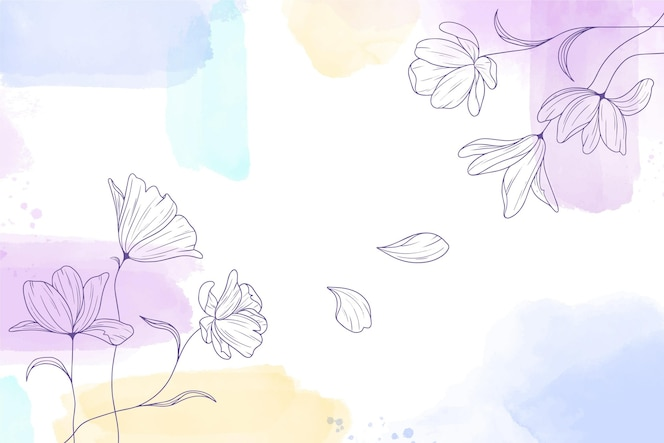 Акварель окрашенный фон с рисованной цветами