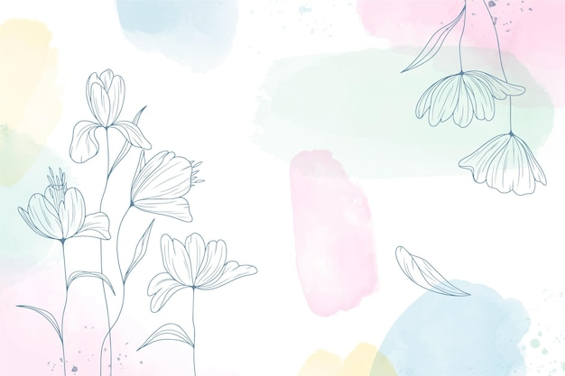 Watercolor painted background with hand drawn flowers