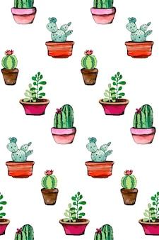 수채화 물감 선인장과 다육 식물 원활한 패턴