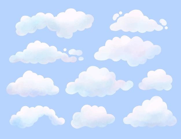 Collezione di nuvole dipinte ad acquerello