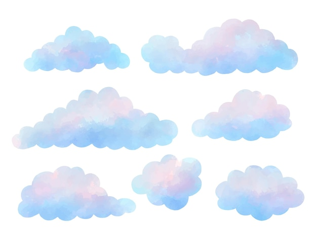 水彩で描いた雲のコレクション