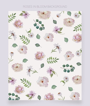 watercolor painted flowers background
