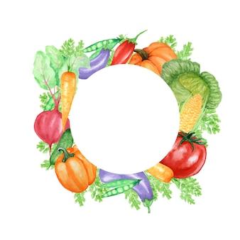 Акварель окрашенная рамка из овощей и насекомых, божьей коровки и пчелы.