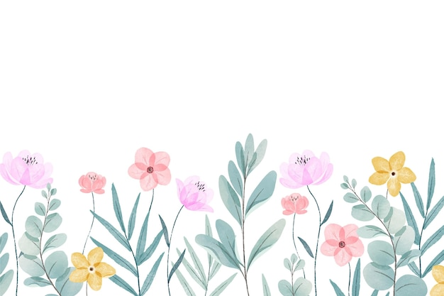 Watercolor painted spring background