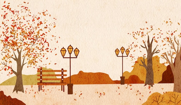 Watercolor painted with scenery of fallen leaves in autumn in city park