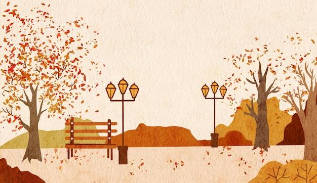Акварель расписана пейзажем опавших листьев осенью в городском парке