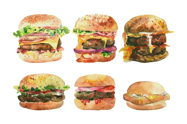 Watercolor painting of 6 burgers.
