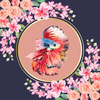 Watercolor painting of betta fish in the circle around with pink and red flower on the corner.