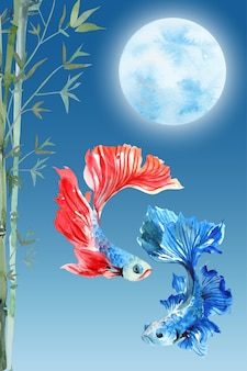 Watercolor painting of betta fish couple in chinese style with bamboo and moon background