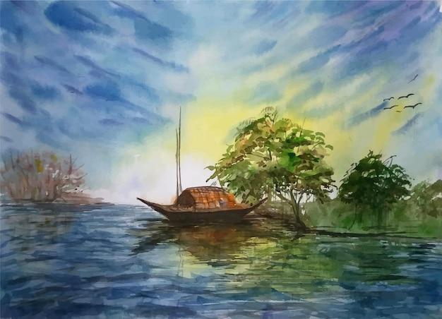 Watercolor painting boat on the river illustration