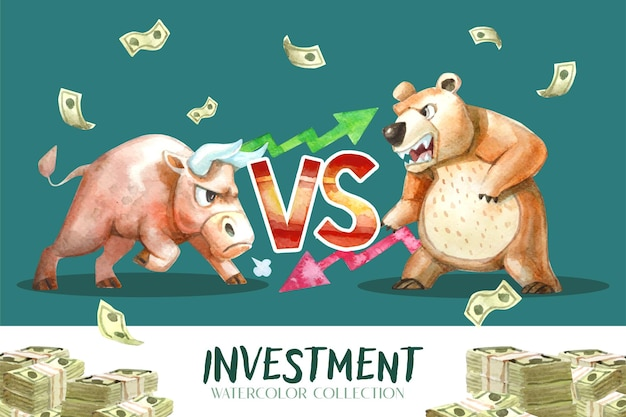 Watercolor painting, bull versus bear collection, which is a parable of the investment trend.