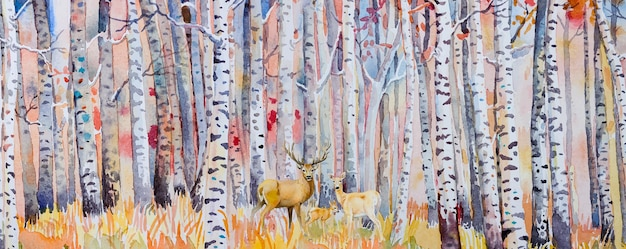 수채화 그림 다채로운가 나무입니다. 숲의 반 추상 이미지, 사슴 가족이 있는 아스펜 나무, 붉은 잎. 가, 가을 시즌 자연 배경입니다. 손으로 그린 인상파, 야외 풍경 프리미엄 벡터