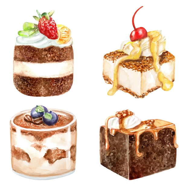 Watercolor painting of desserts mousses shortcake jam collection