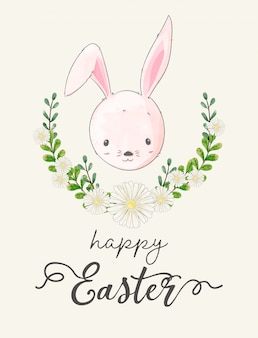 Watercolor painting of easter day's card. rabbits among the flower wreath.