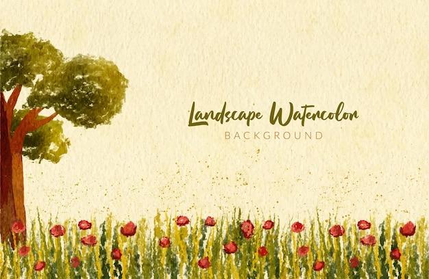 水彩画手描きの木と農場の花の風景の背景